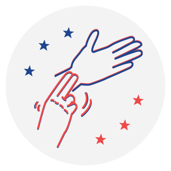 SignVote alternative logo signing vote in ASL with one hand blue and the other hand red.