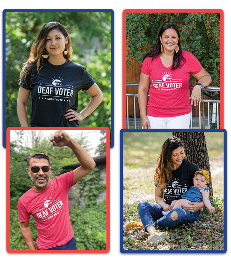 Four individuals wearing 'Deaf Voter' t-shirts.
